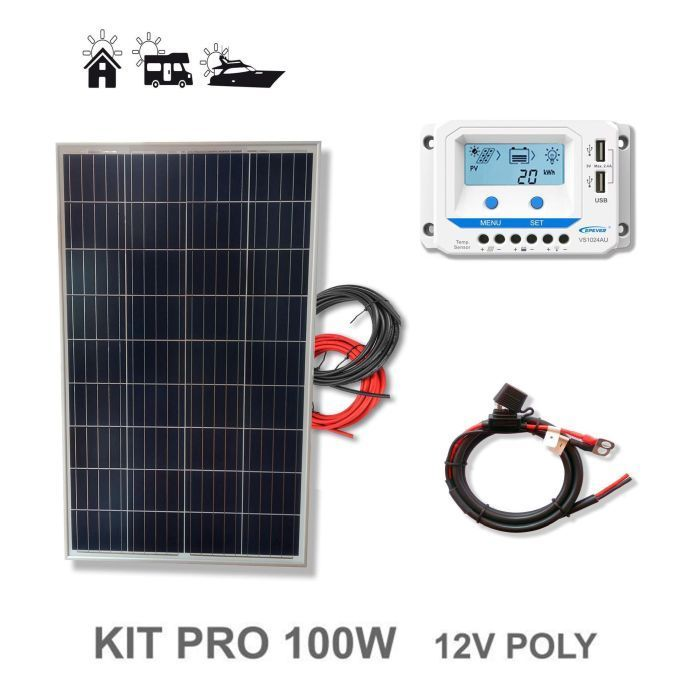 kit 100w pro 12v panneau solaire plaque camping car bateau. Black Bedroom Furniture Sets. Home Design Ideas