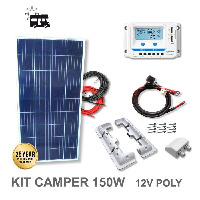 kit 150w camper 12v panneau solaire plaque camping car. Black Bedroom Furniture Sets. Home Design Ideas