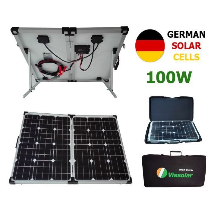 kit panneau solaire portable 100w 12v cellules allemandes pliable plaque camping ebay. Black Bedroom Furniture Sets. Home Design Ideas